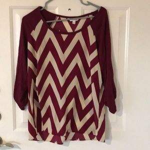 Charming Charlie's chevron striped 3/4 blouse